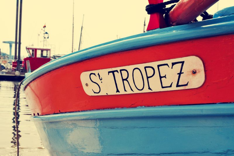 St. Tropez written in a boat, with a retro effect